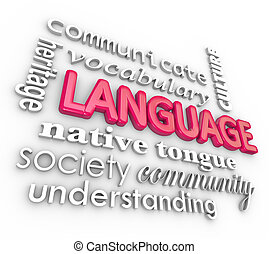 Language word and related terms in a 3d collage including community, heritage, communication, society, vocabulary, culture, native tongue to illustrate speech education