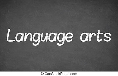 Language arts lesson on blackboard or chalkboard.