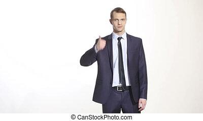 language., business, bon, maillot, geste, thumb., isolé, homme, ventes, élevé, agents., arrière-plan., managers., formation, blanc