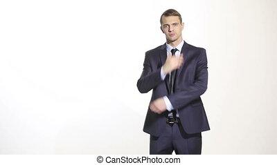 language., business, maillot, isolé, homme, menton, arrière-plan., caresser, blanc