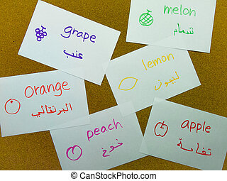 Language Flash Cards; Arabic - Learning name of the fruits...