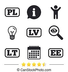 Language icons. PL, LV, LT and EE translation. - Language...