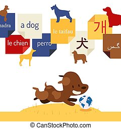 Language learning book for children, vector illustration. Foreign words for dog written on stickers. Playful puppy chasing a ball globe