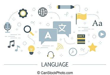 Language learning concept. Idea of global communication.