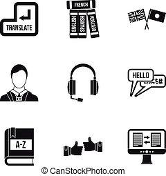 Language learning icons set, simple style