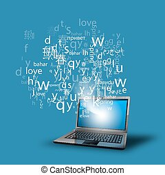 language learning through the internet vector