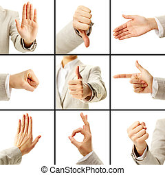 Collage of female hand showing different gestures