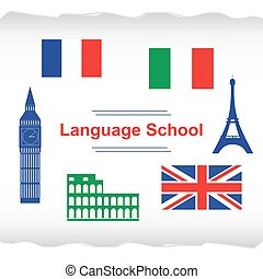 Language school poster, banner