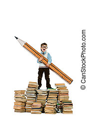 language - A boy standing on a pile of books and holding a...