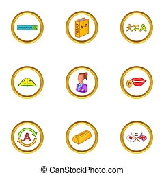 Language study icons set, cartoon style