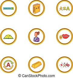 Language study icons set, cartoon style