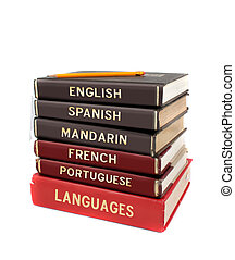 Languages textbooks like english, spanish, mandarin, french and portuguese for educational purposes