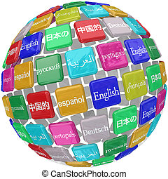 Many international languages in words on a sphere of tiles including English, Chinese, Japanese, Spanish, Russian, French and German