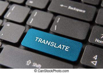 Language translation concept on computer keyboard