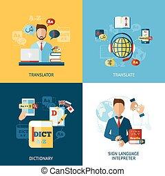 Language Translator Set - Translator design concept set with...