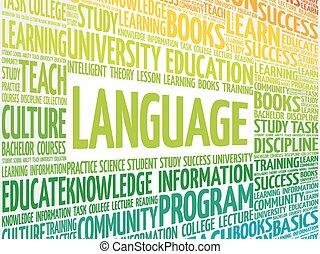 LANGUAGE word cloud collage, education concept background