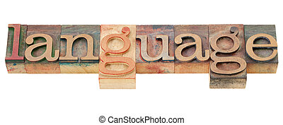 language word in letterpress type