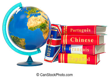 Languages Books with geographical globe of Earth, 3D rendering