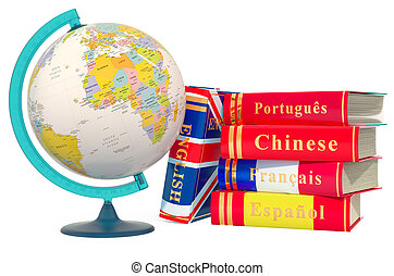 Languages Books with political globe of Earth, 3D rendering