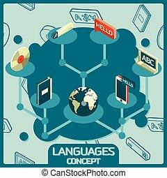 Languages color isometric concept icons
