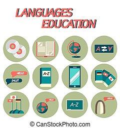 Languages education flat icon set