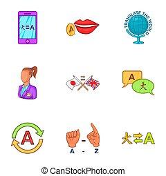 Languages icons set, cartoon style