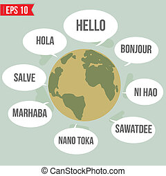 Languages say Hello in the world   - Vector illustration - EPS10