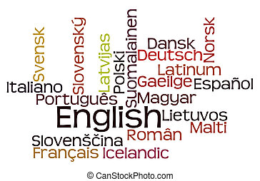 Languages Word Cloud on White Background