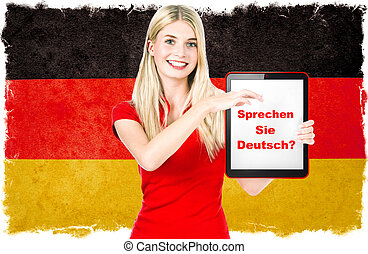 langue allemande, apprentissage, concept