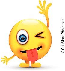 langue dehors, cligner, emoji