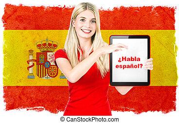 langue espagnole, apprentissage, concept