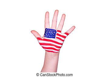 langue, main., drapeau, américain, apprentissage, anglaise, voyager, amérique, concept.