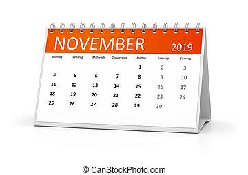 langue, novembre, 2019, allemand, calendrier, table