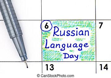 langue, russe, stylo, calendrier, jour, rappel