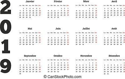 Calendrier Francais 2019.Langue Simple Allemand 2019 Annee Calendrier Simple