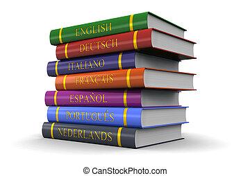 langues, étude, livres, pile