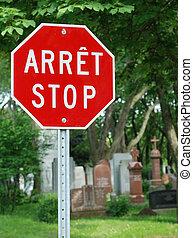 langues, anglaise, arrêt, français signent