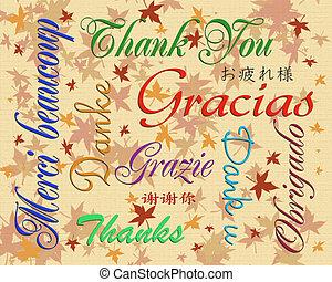 langues, beaucoup, vous, remercier, carte