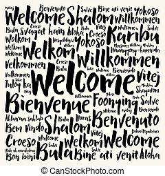 langues, différent, accueil, mot, nuage