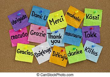 langues, différent, vous, remercier