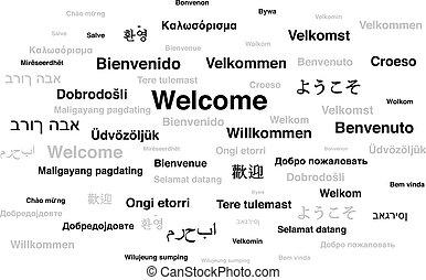 langues, mondiale, différent, accueil, locution