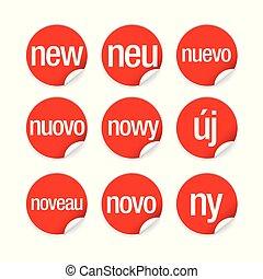 langues, mondiale, différent, nouveau, étiquette