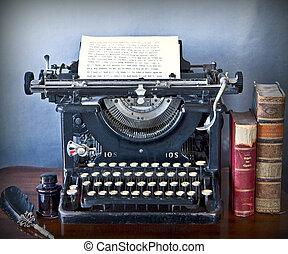 langzaam verdwenen, oud, typemachine, karakters, schrijvende...