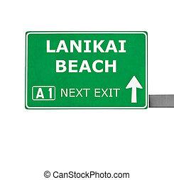 LANIKAI BEACH road sign isolated on white