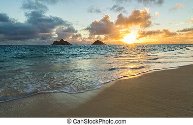 lanikai, tengerpart, napkelte
