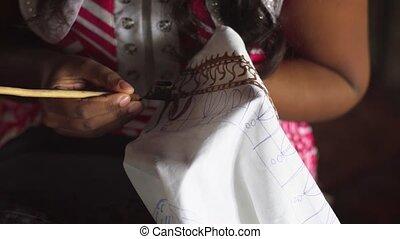 lanka, utilisation, confection, traditionnel, artisan, sri, ...