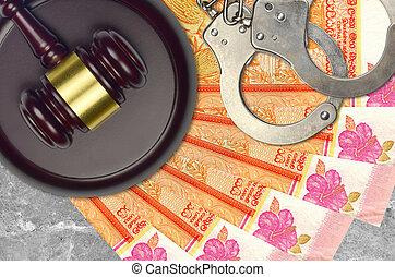 lankan, action éviter, juge évaluation, marteau, police, rupees, concept, sri, tribunal, ou, menottes, judiciaire, factures, impôt, 100, desk., bribery.