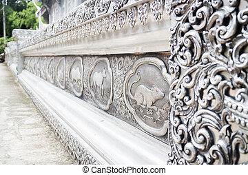 lanna, laca, quadro, tailandês, prata, chiang mai, signos, templo