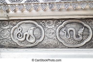lanna, parede, símbolo, tradicional, tailandês, signos