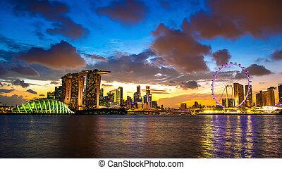 lanscape, の, singapore.